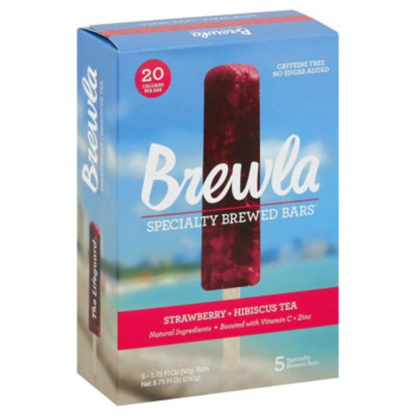 Brewla Specialty, Strawberry + Hibiscus Tea Brewed Bars