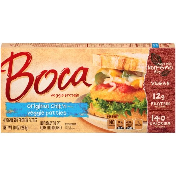 Boca Original Chik'n Made with Non-GMO Soy Vegan Soy Protein Patties