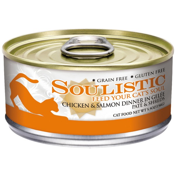 Soulistic Pate & Shreds Chicken & Salmon Dinner Adult Canned Cat Food In Gelee