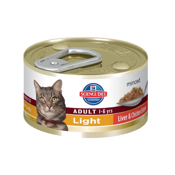 Hill's Science Diet Cat Food, Adult (1-6 Years), Liver & Chicken Entree, Minced, Light