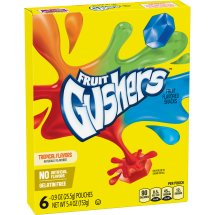 Betty Crocker Fruit Snacks, Gushers, Variety Snack Pack, 6 Pouches, 0.9 oz Each, 6.0 CT