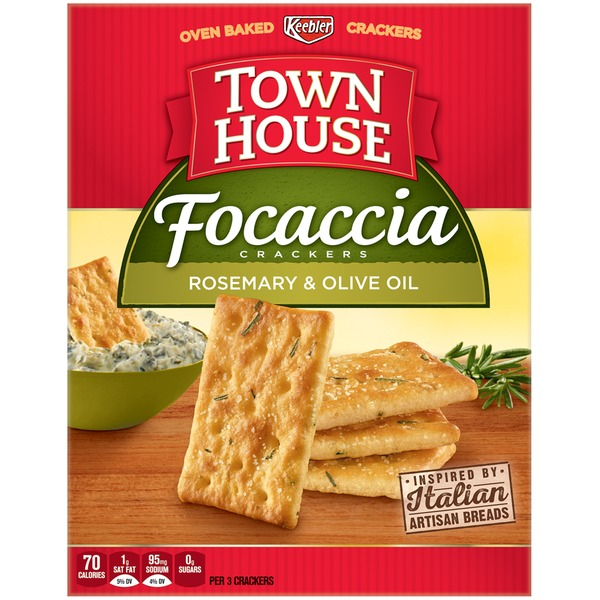 Keebler Town House Focaccia Rosemary & Olive Oil Crackers