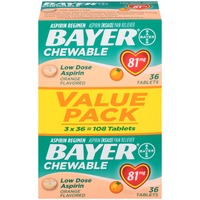Bayer Low Dose Aspirin Orange Flavored 81mg Chewable Tablets Aspirin Regimen/Pain Reliever