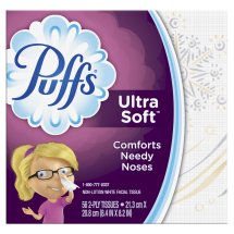 Puffs Ultra Soft & Strong Facial Tissues, White, 56 Sheets/Box