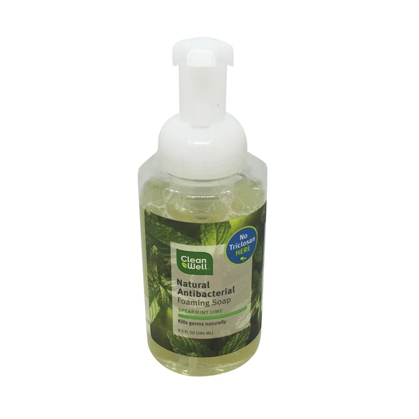 CleanWell Natural Antibacterial Foaming Soap Spearmint Lime