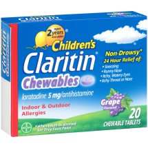 Children's Claritin® Chewables 24 Hour Non-Drowsy Indoor & Outdoor Allergies Grape Flavored Antihistamine Chewable Tablets 20 ct Box