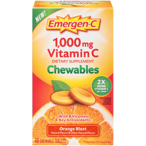 Emergen-C Chewables Orange Blast 1000mg Vitamin C Chewable Tablets Dietary Supplement