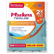 Plackers Twinline Cool Mint Dental Floss Picks - 150 Count