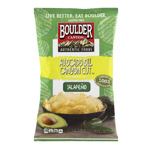 Boulder Canyon Avocado Oil Canyon Cut Kettle Cooked Potato Chips Jalapeno