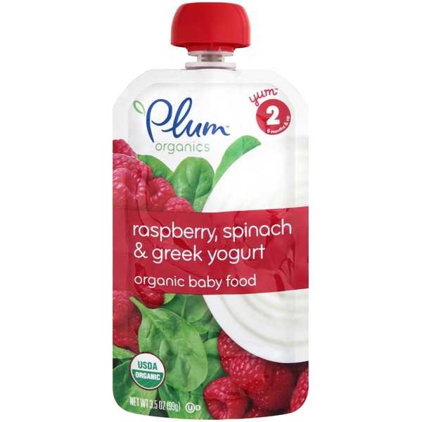 Plum Baby Raspberry, Spinach & Greek Yogurt Stage 2 Baby Food
