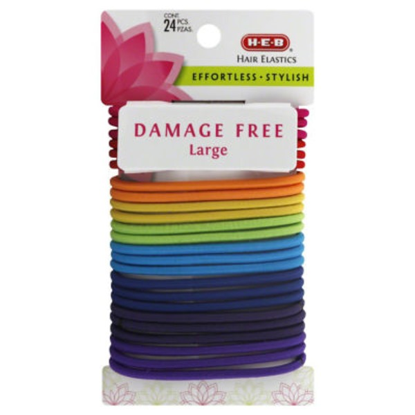 H-E-B Large Damage Free Hair Elastics Bright Assorted Colors