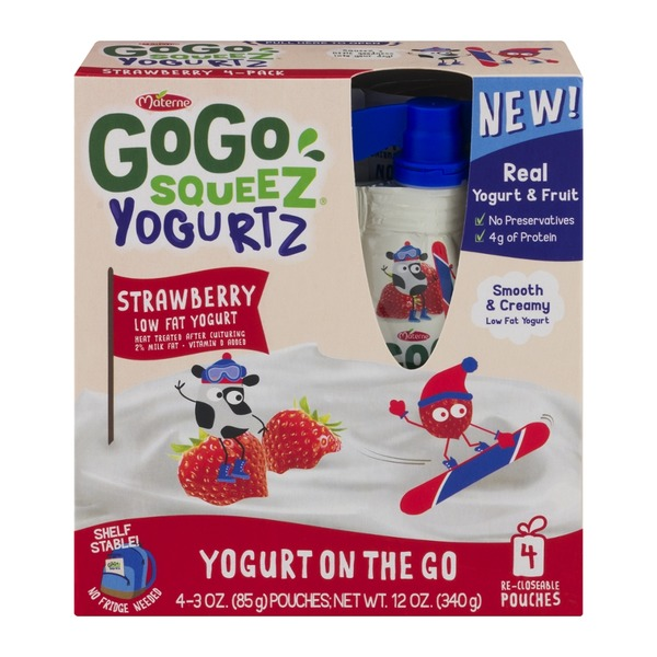 GoGo Squeez Yogurtz Low Fat Yogurt Strawberry - 4 CT