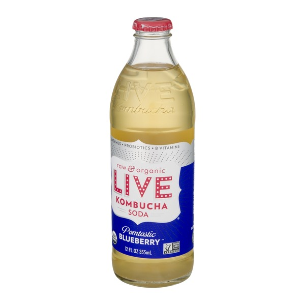 LIVE Raw and Organic Kombucha Soda Pomtastic Blueberry