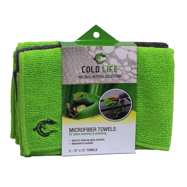 Cold Life Natural Reptile Solutions Microfiber Towels for Glass Cleaning & Polishing 12