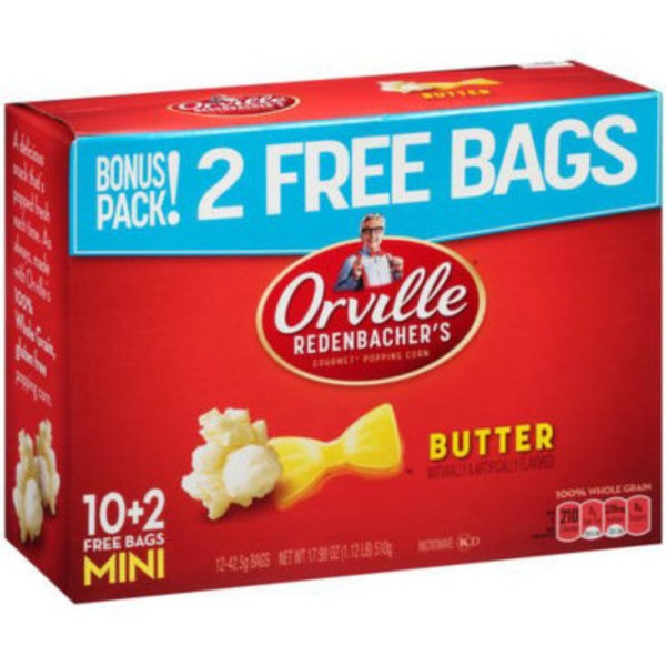 Orville Redenbacher's Gourmet Popping Corn Butter Single Serve Mini Bags - 12 CT