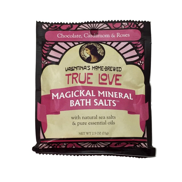 Valentina's Home Brewed True Love Magickal Mineral Bath Salts With Natural Sea Salts Chocolate,Cardamom & Rose