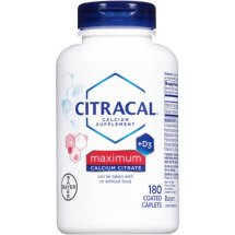 Citracal Calcium Supplement + D3 Maximum Calcium Citrate Coated Caplets - 180 CT