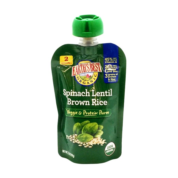 Earth's Best Organic Stage 2 Spinach Lentil Brown Rice Baby Food