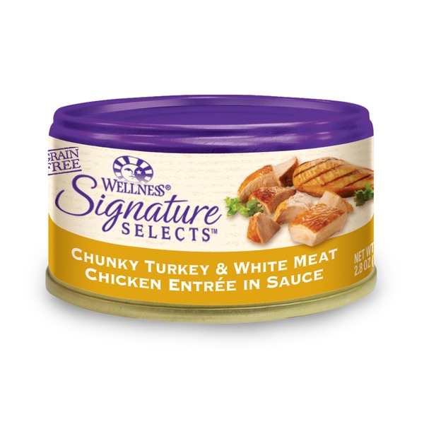 Wellness Signature Selects Grain Free Chunky Turkey & White Meat Chicken Entree Canned Cat Food 2.