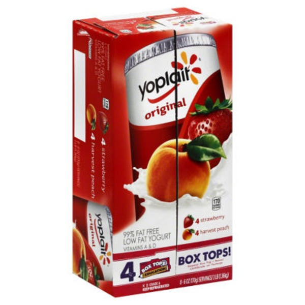 Yoplait Original Strawberry/Harvest Peach Variety Pack Low Fat Yogurt