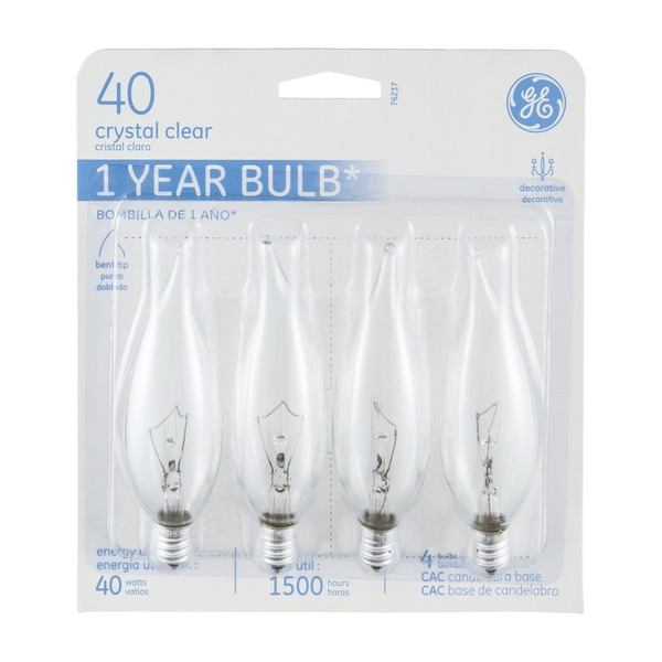 GE Bulb Crystal Clear Candelabra Base - 40 Watt