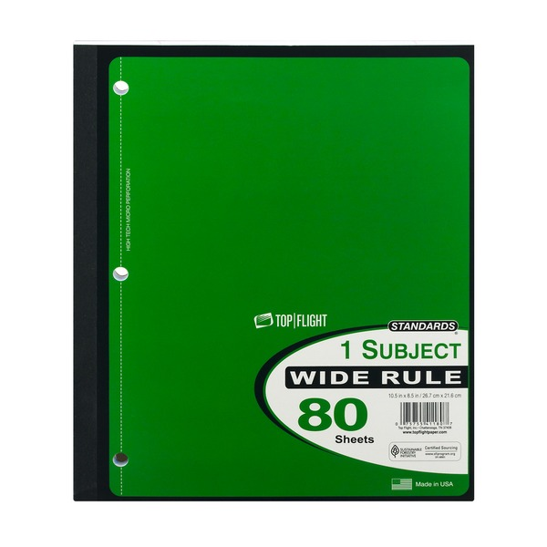 Top Flight Standards 1 Subject Wide Rule 80 Sheets