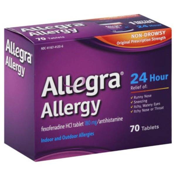 Allegra Allergy Non-Drowsy Indoor and Outdoor Allergy Tablets Original Prescription Strength - 70 CT