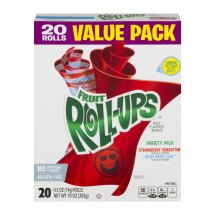 Betty Crocker Fruit Snacks, Fruit Roll-Ups, Variety Snack Pack, 20 Rolls, 0.5 oz Each, 0.5 OZ