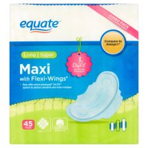 Equate Maxi Pads with Flexi-Wings, Long Super, 45 Ct