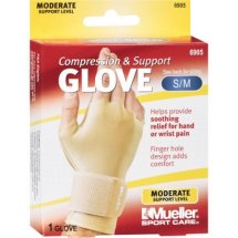 Mueller Sport Care Compression & Support Glove, Moderate Support, Size S/M