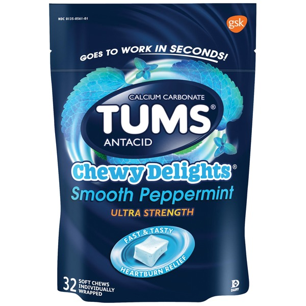 Tums Chewy Delights Smooth Peppermint Ultra Strength Antacid/Calcium Carbonate