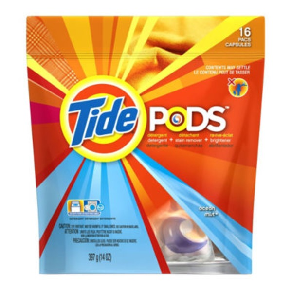 Tide PODS HE Turbo Laundry Detergent Pacs, Ocean Mist Scent, 16 count Laundry