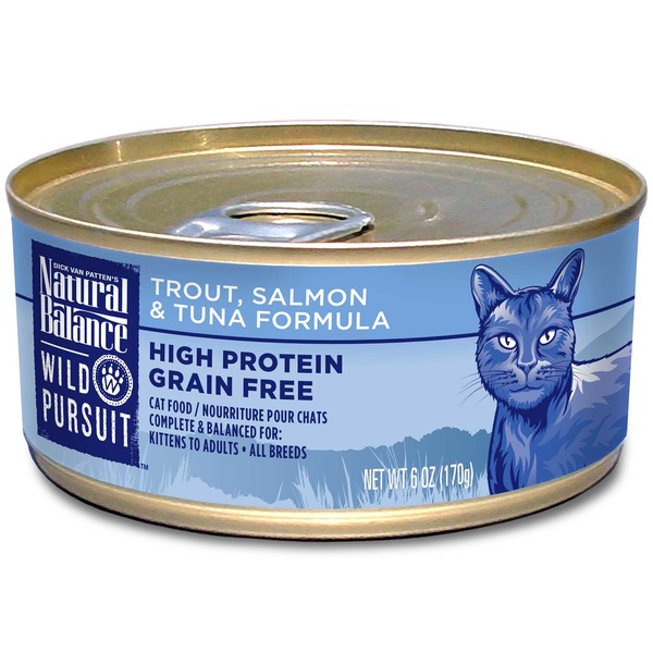 Natural Balance Wild Pursuit Trout, Salmon & Tuna Formula High Protein Grain Free Cat Food
