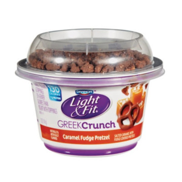 Light & Fit Greek Greek Crunch Caramel Fudge Pretzel with Toppings Nonfat Yogurt