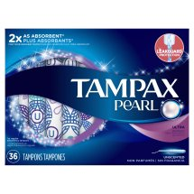 Tampax Pearl Ultra Plastic Tampons, Unscented, 36 Count