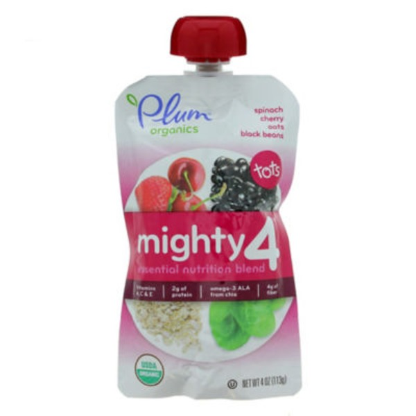 Plum Tots Organics Mighty 4 Spinach Cherry Oats & Black Beans Essential Nutrition Blend