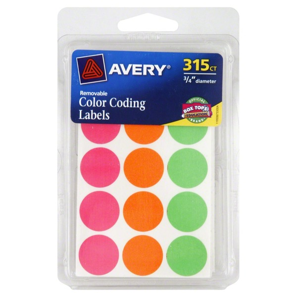 Avery Labels, Color Coding, Removable, 3/4 Inch, Case