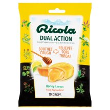 Ricola Dual Action Honey-Lemon Soothes Cough + Relieves Sore Throat, 19 count