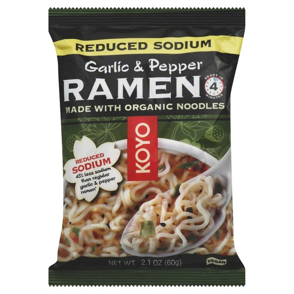 Koyo Organic, Reduced Sodium, Ramen Noodles, Garlic/Pepper, Bag