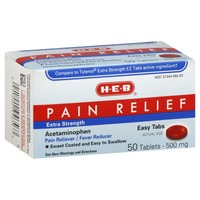 H-E-B Pain Relief Extra Strength Acetaminophen 50 Tablets 500mg