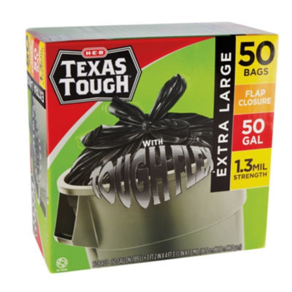 H-E-B Extra Large Texas Tough Drumliner 50 Gallon Trash Bags