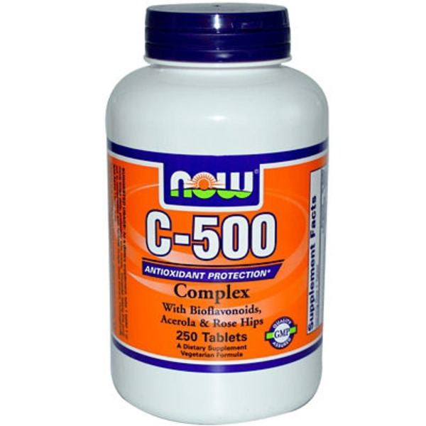 Now Vitamin C-500 Complex with Bioflavonoids Acerola & Rose Hips Tablets