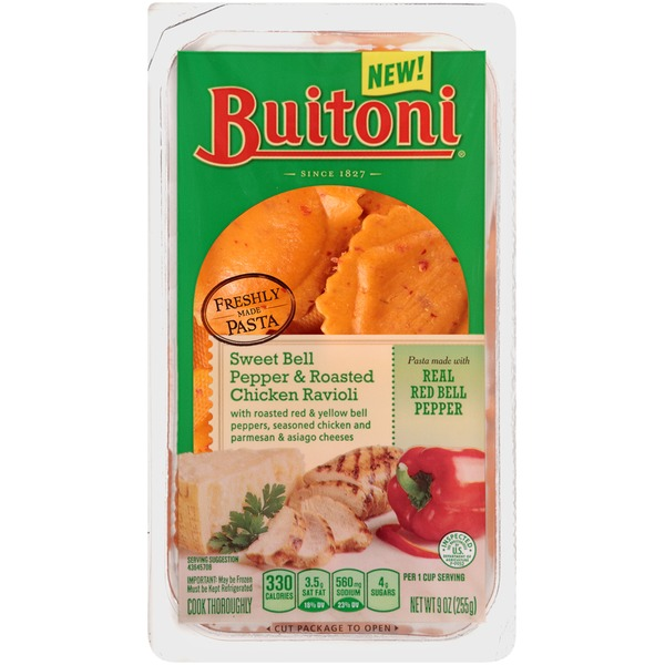 Buitoni Freshly Made. Filled with Roasted Bell Peppers, Seasoned Chicken and Parmesan & Asiago Cheeses Sweet Bell Pepper and Roasted Chicken Ravioli