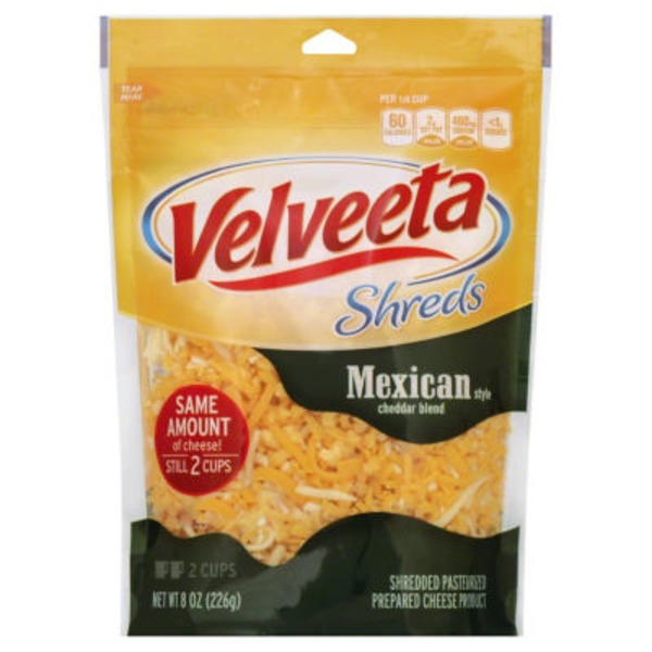 Kraft Velveeta Shreds Shredded Mexican Style Cheddar Blend Cheese