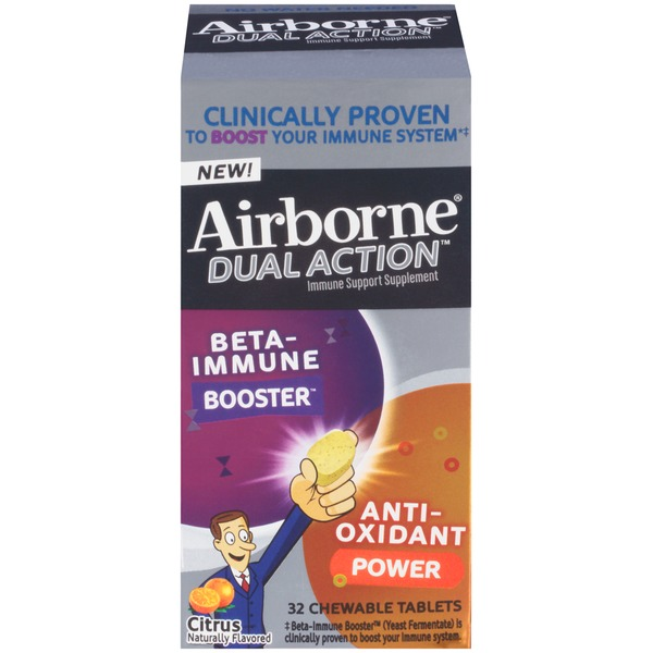 Airborne Dual Action Citrus Chewable Tablets Immune Support Supplement