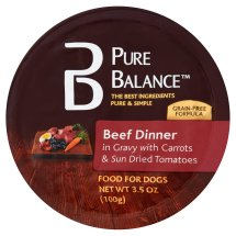 Pure Balance Beef Dinner Gravy Carrots & Sun Dried Tomatoes Canned Wet Dog Food, 3.5 Oz
