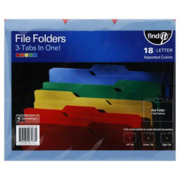Find It Assorted Colors Letter File Folders