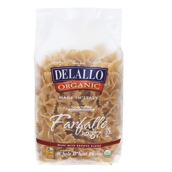 DeLallo 100% Organic Farfalle Whole Wheat Pasta