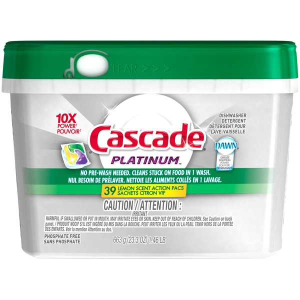 Cascade Platinum ActionPacs Dishwasher Detergent Lemon Burst 39 Ct Dish Care