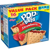 Kellogg's Pop-Tarts Unfrosted Strawberry Toaster Pastries, 16 ct